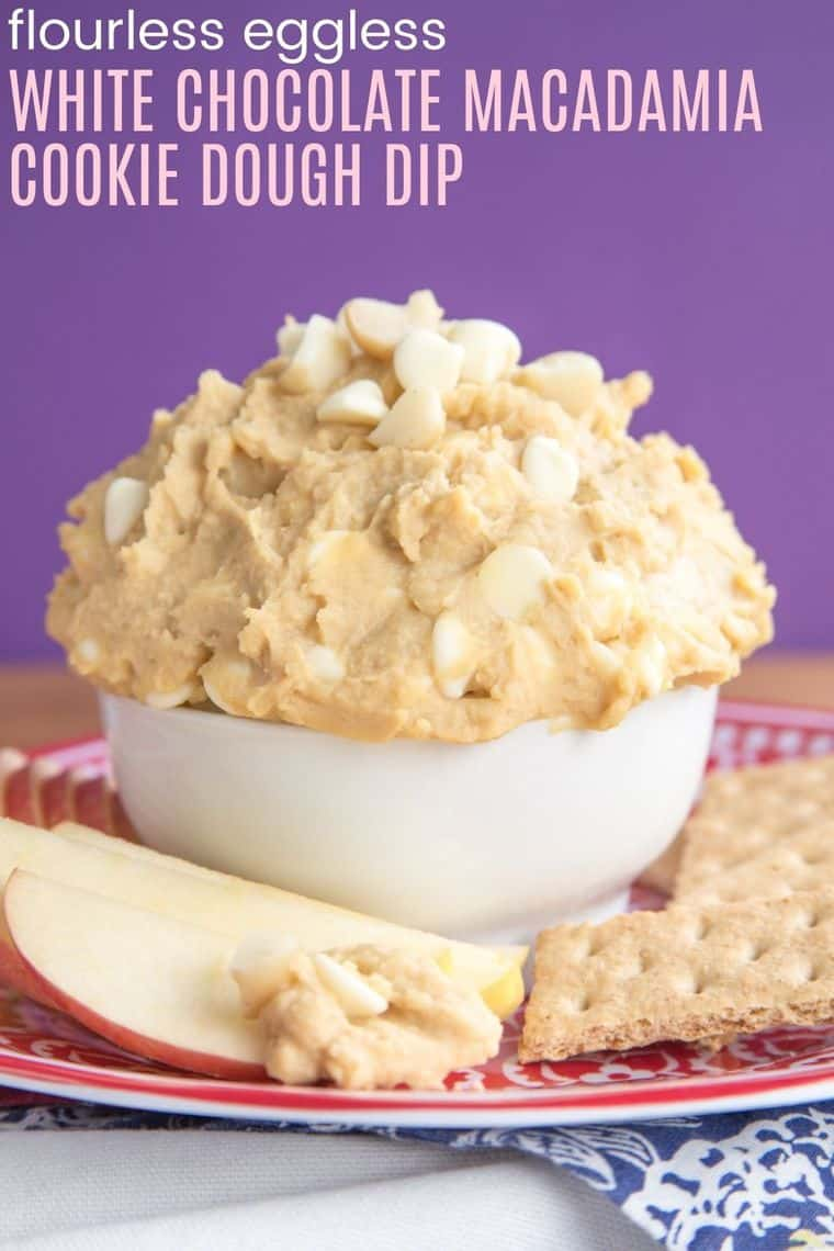 Flourless White Chocolate Macadamia Nut Cookie Dough Dip - is an egg-free and naturally gluten free indulgence for a healthy snack or dessert. Can be made vegan, too! | cupcakesandkalechips.com