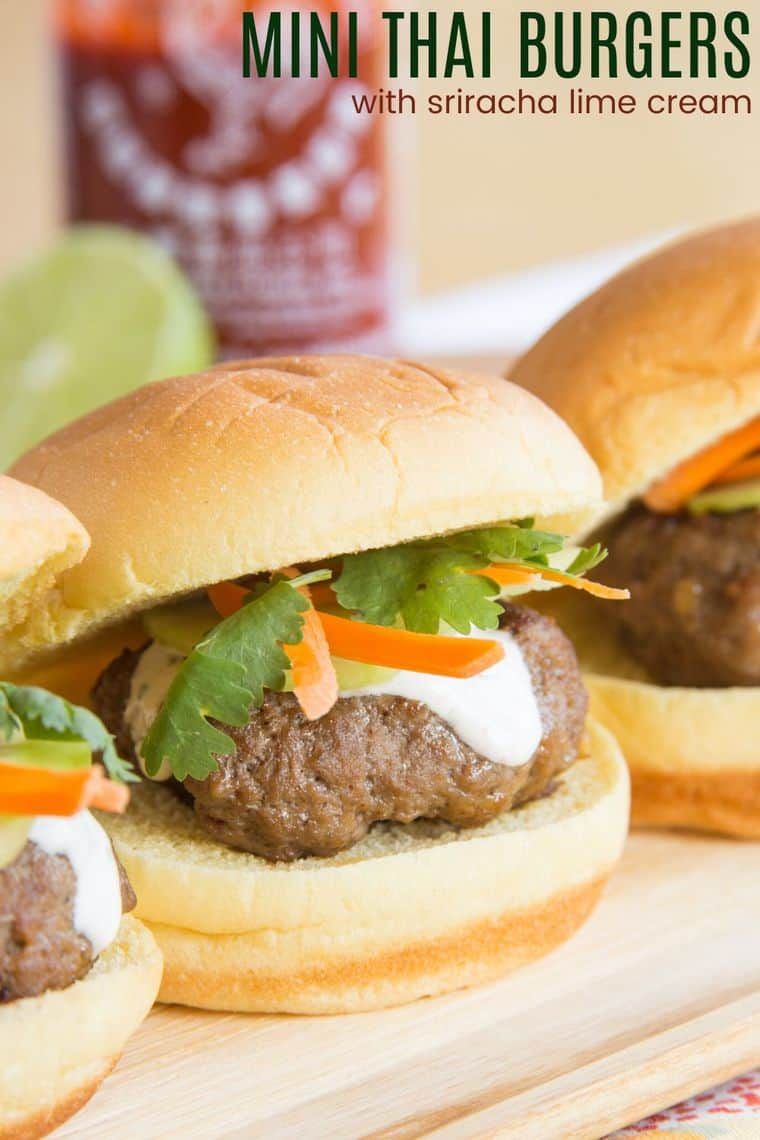 Mini Thai Burgers with Sriracha Lime Cream Recipe Image with title