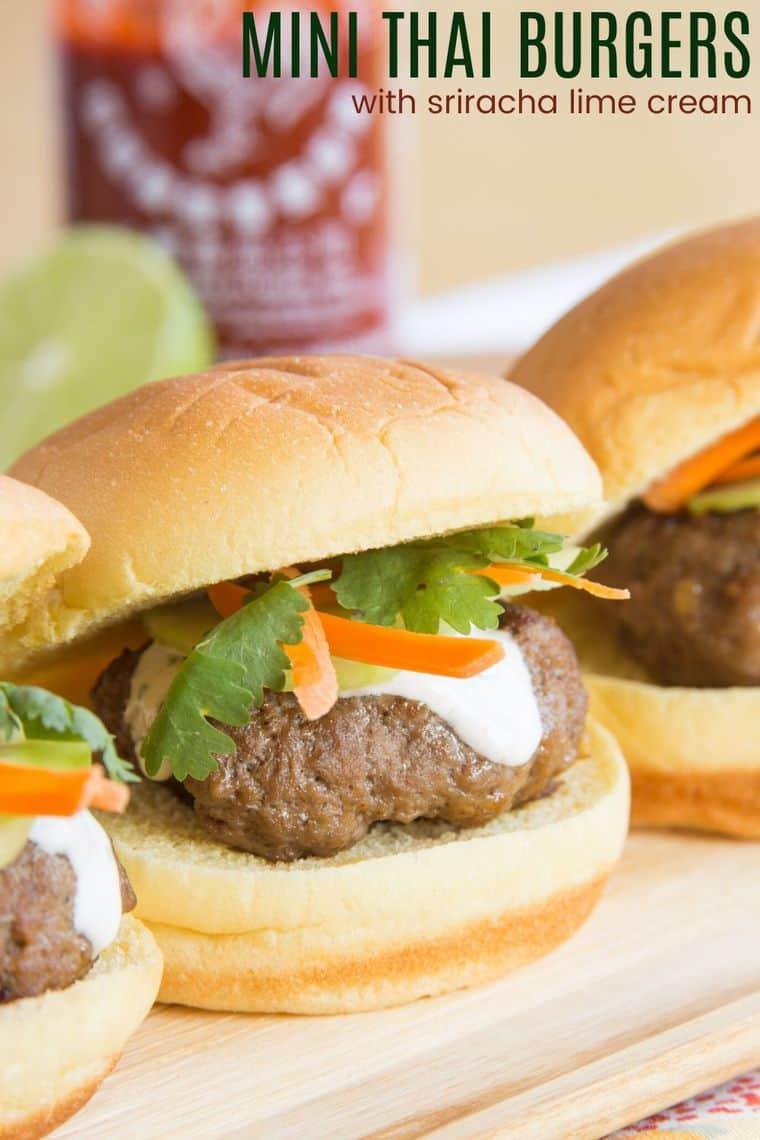Mini Thai Burgers with Sriracha Lime Cream Recipe Image with title