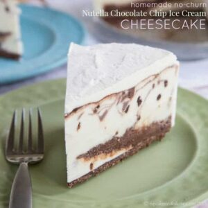 Nutella Chocolate Chip Cheesecake No-Churn Ice Cream Cake - simple but worthy of a special occasion! Combine cheesecake and ice cream cake, add swirls of Nutella chocolate ganache, and layer it on a gluten free chocolate hazelnut crust. | cupcakesandkalechips.com
