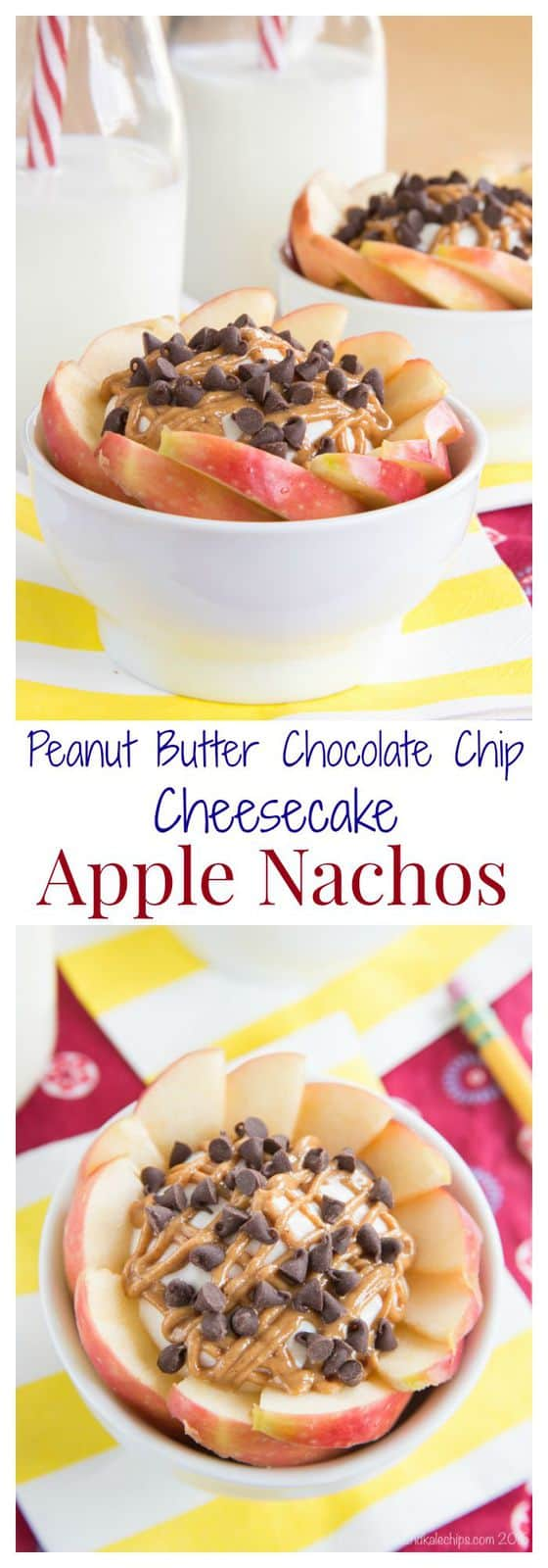 Peanut Butter Chocolate Chip Cheesecake Apple Nachos - my kids love these! I love that they are easy, healthy, and only take seven basic ingredients and a few minutes to make! | cupcakesandkalechips.com | gluten free recipe