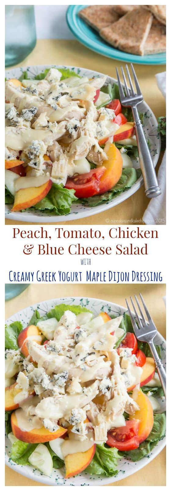 Peach, Tomato, Chicken and Blue Cheese Salad is a satisfying and fresh salad featuring the best late summer produce. | cupcakesandkalechips.com | gluten free recipe