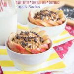 Peanut butter chocolate chip cheesecake dip, an easy gluten-free dessert dip recipe, combined with fresh apple slices creates the perfect after-school snack, apple nachos!