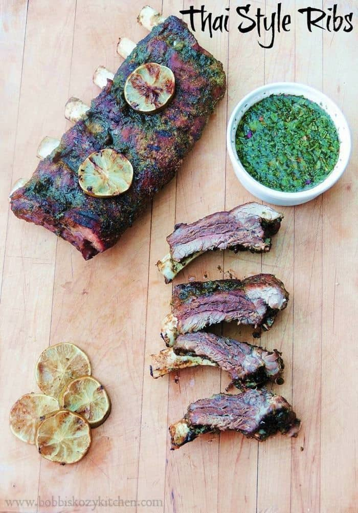 Thai Style Ribs - fire up the grill for this sweet and spicy Asian-inspired recipe. | bobbiskozykitchen.com for cupcakesandkalechips.com | gluten free recipe