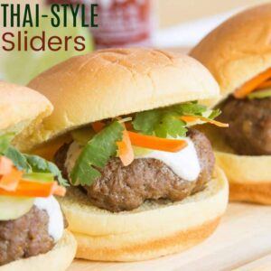 Thai-Style Sliders Recipe Featured image with title text
