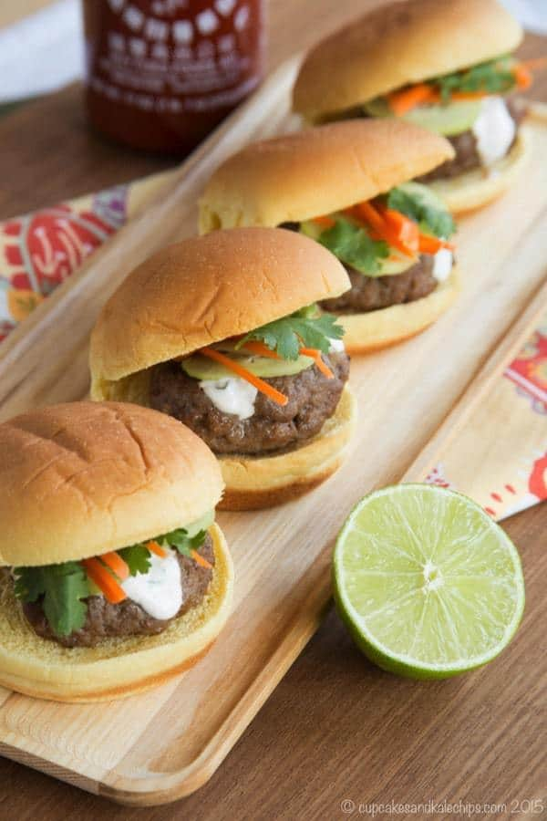 A row of Thai sliders on a platter from overhead