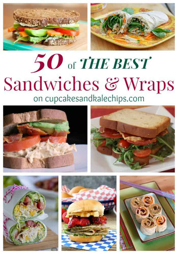 50 of The Best Sandwiches and Wraps - whether you're packing lunchboxes or just need some quick, easy and super delicious family-friendly dinners | cupcakesandkalechips.com