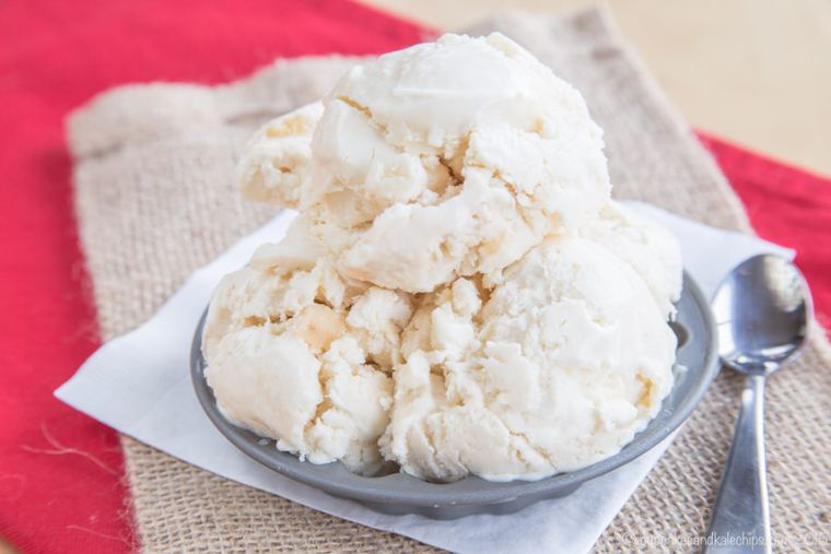 A dish of No-Churn Caramel Apple Cheesecake Ice Cream