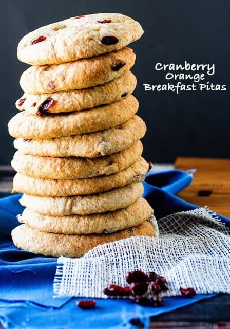 Cranberry Orange Breakfast Pitas - packed with whole grains and flax seed, change up your morning meal with this healthy and tasty toast alternative from bakeeatrepeat.ca for cupcakesandkalechips.com