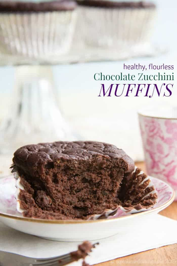 Flourless Healthy Chocolate Zucchini Muffins - so moist and tender, you don't have to tell anyone that this chocolaty breakfast treat is packed with veggies, protein, and fiber. | cupcakesandkalechips.com | gluten free, dairy free and sugar free options