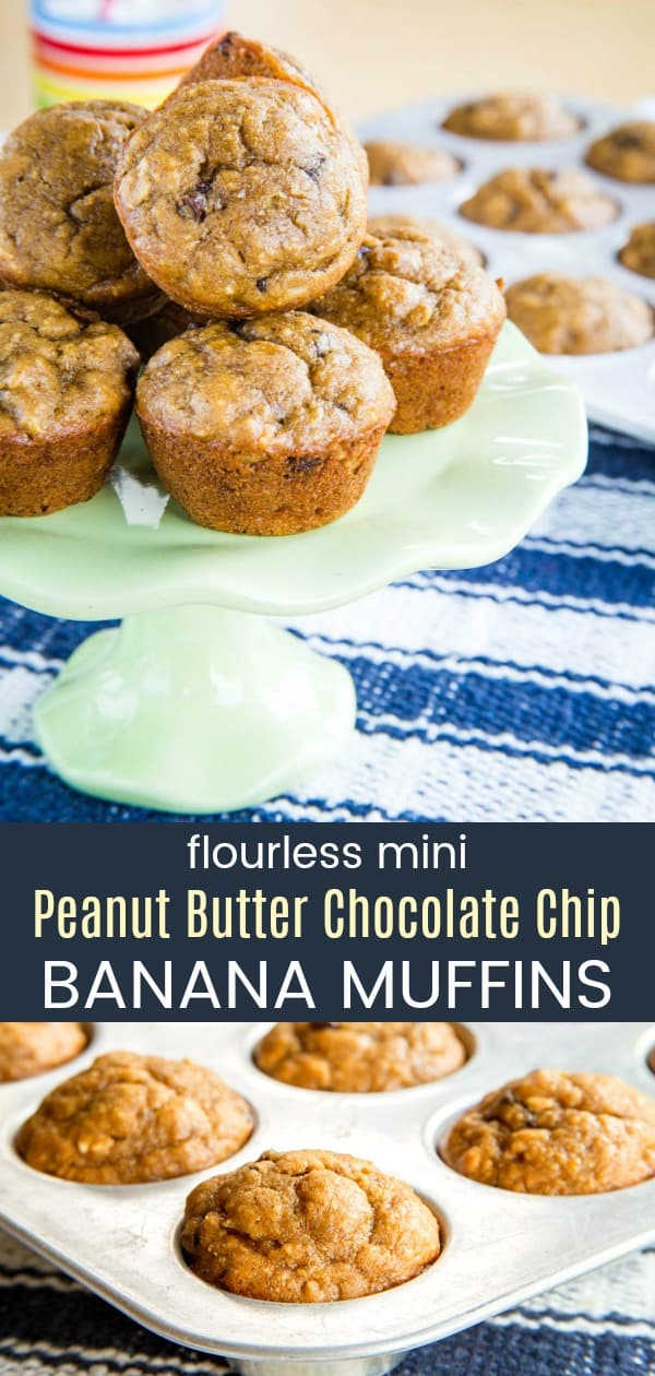 Flourless Mini Peanut Butter Chocolate Banana Muffins - this funky monkey muffin recipe has the favorite combination of bananas, peanut butter, and chocolate chips in a healthy breakfast or snack. Made with oatmeal instead of wheat flour. #muffins #peanutbutterandchocolate #glutenfree #bananamuffins
