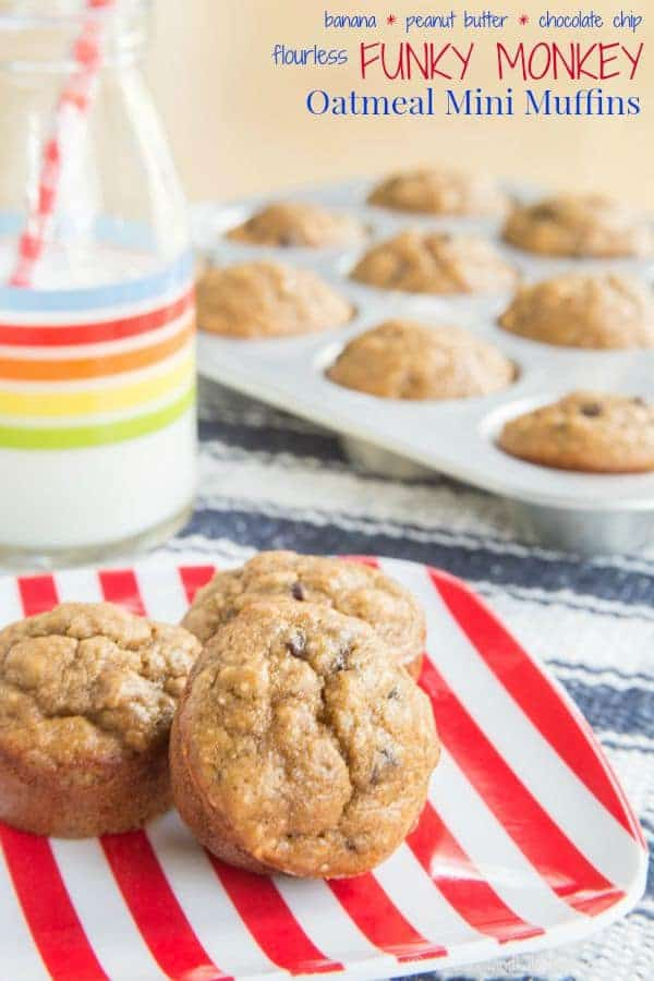 Flourless Oatmeal Peanut Butter Banana Chocolate Chip Mini Muffins ...