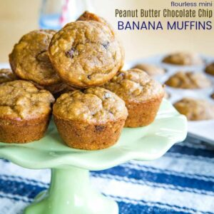 Mini Peanut Butter Chocolate Banana Muffins