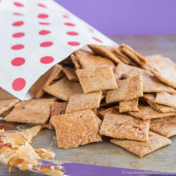 Peanut Butter and Jelly Swirl Whole Wheat Crackers - combine two kid favorites into one tasty and wholesome snack. #spon | cupcakesandkalechips.com