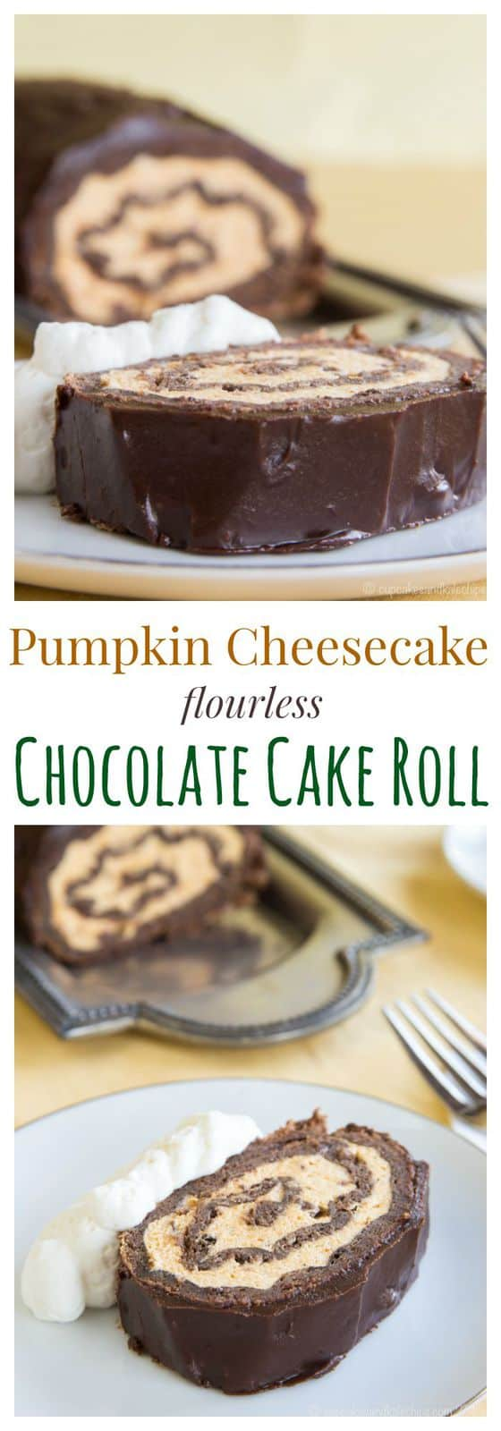 Pumpkin Cheesecake Flourless Chocolate Cake Roll - an impressive dessert for fall with pumpkin cheesecake mousse, chocolate sponge cake, and rich chocolate ganache. | cupcakesandkalechips.com | gluten free recipe