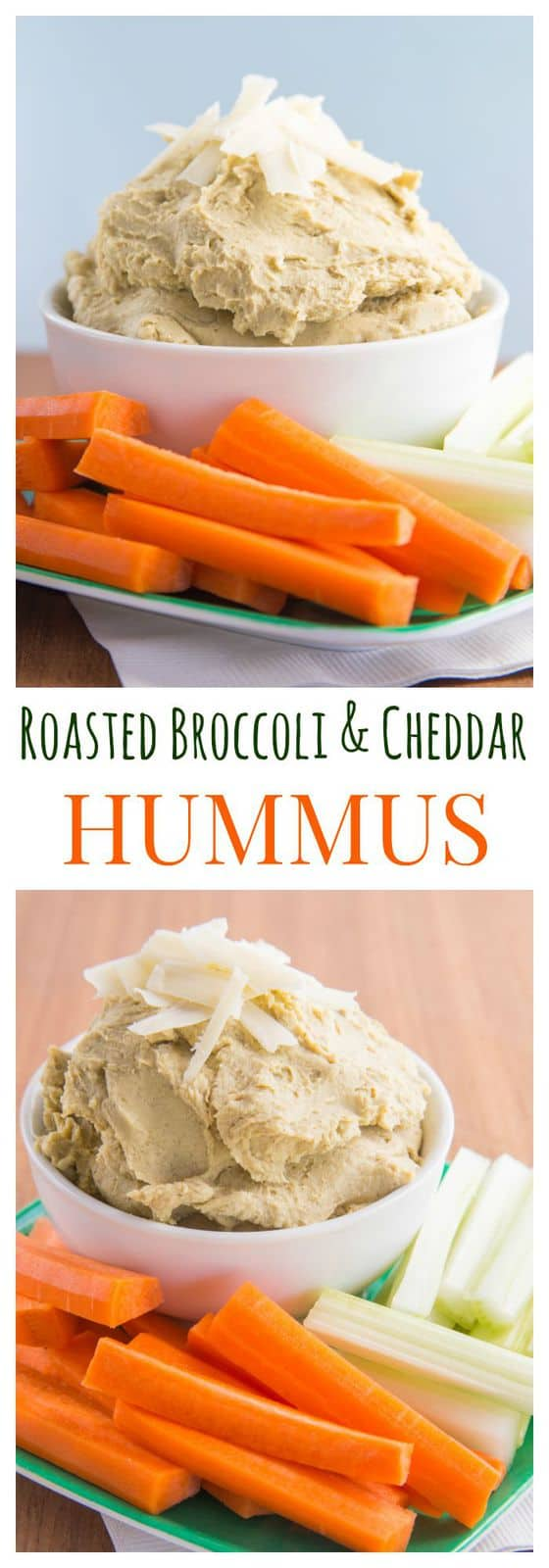 Roasted Broccoli and Cheddar Cheese Hummus - Cupcakes & Kale Chips