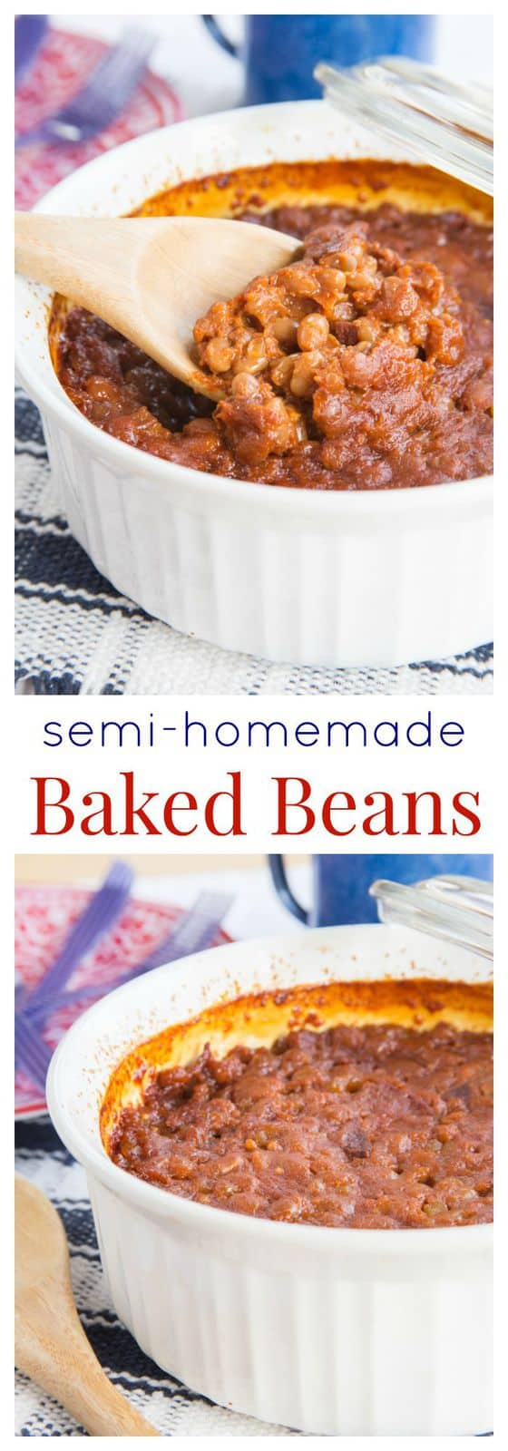 titled photo collage of semi homemade baked beans