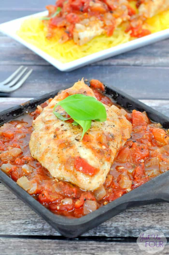 Paleo One Pot Chicken breast over chunky tomato sauce