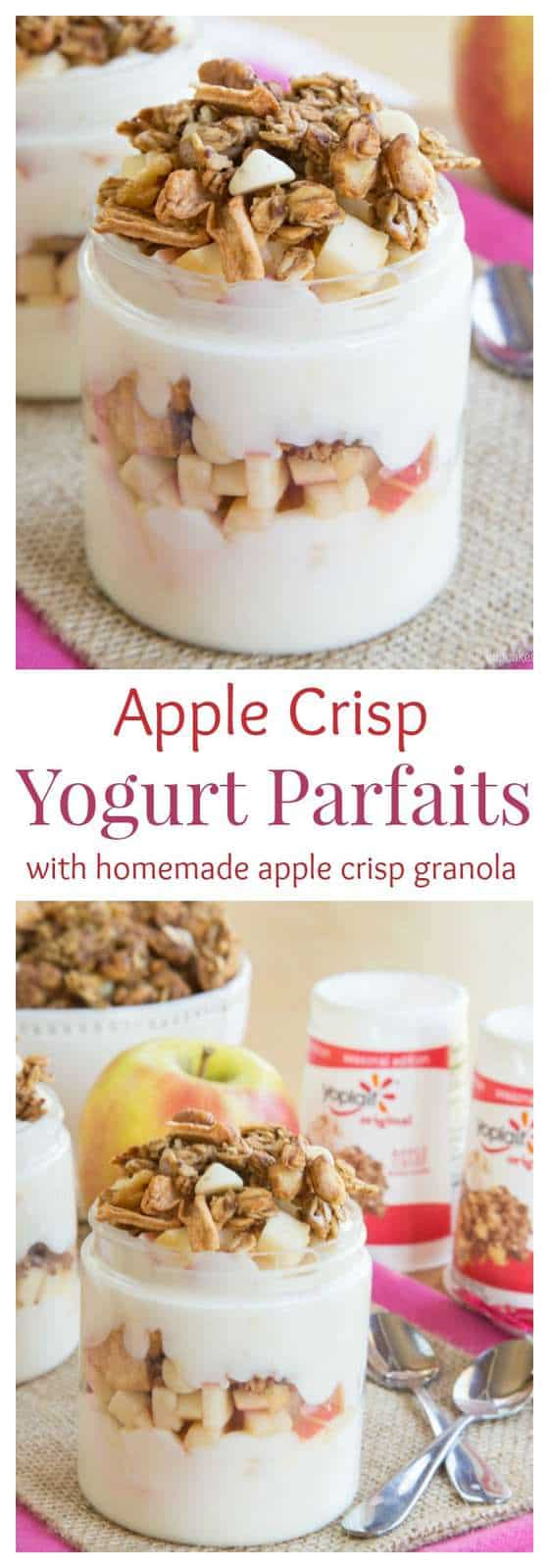 Apple Crisp Yogurt Parfaits with Homemade Apple Crisp Granola - a wholesome breakfast, snack, or dessert recipe inspired by a favorite fall sweet treat. Sponsored by General Mills® #AD #SnackandSmile | cupcakesandkalechips.com | gluten free