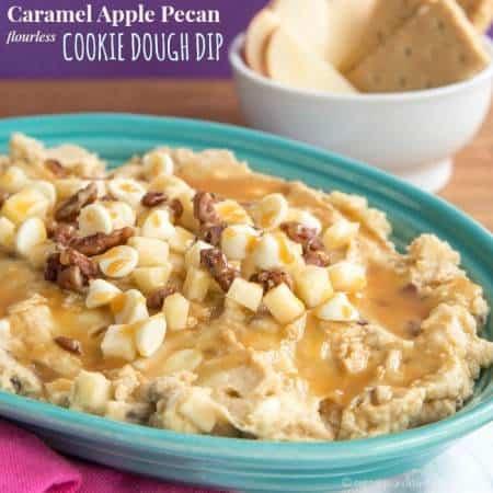 Caramel Apple Pecan Flourless Cookie Dough Dip recipe-3323 title