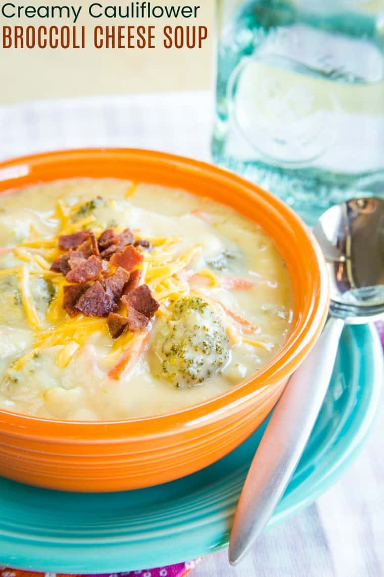 Cauliflower Broccoli Cheese Soup - just as creamy and cheesy as a classic broccoli cheddar soup recipe but more veggies make it more healthy! Gluten free and low carb too. #broccolicheesesoup #lowcarb #glutenfree #soup