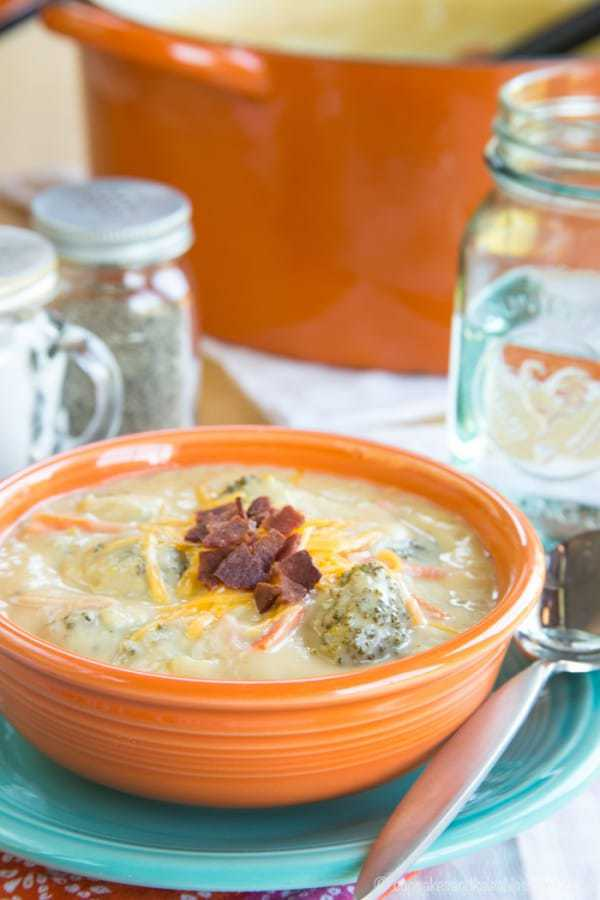 Cheesy Broccoli Cauliflower Soup - a healthier version of a favorite comfort food recipe with extra veggies. Gluten free and low carb.
