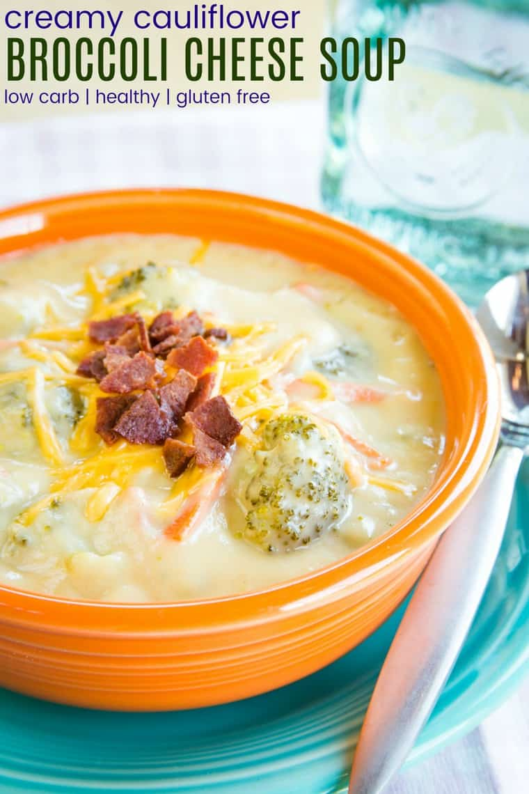 Creamy Cauliflower Broccoli Cheese Soup - a healthy and veggie-packed version of a favorite comfort food recipe that's just as cheesy as the original. Gluten free and low carb.