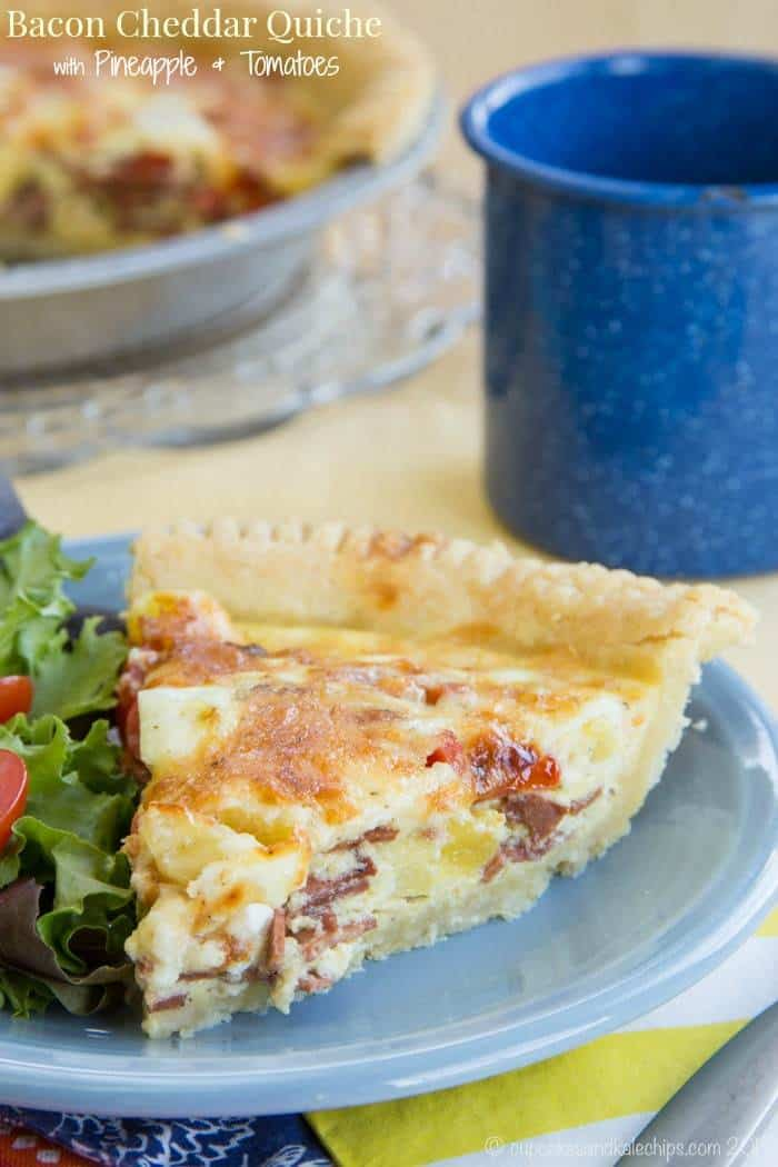 Bacon Cheddar Quiche with Tomato and Pineapple - a salty sweet breakfast or brunch recipe. My family loved this as breakfast for dinner! Use your favorite pie crust recipe, or my new favorite gluten free recipe. | cupcakesandkalechips.com