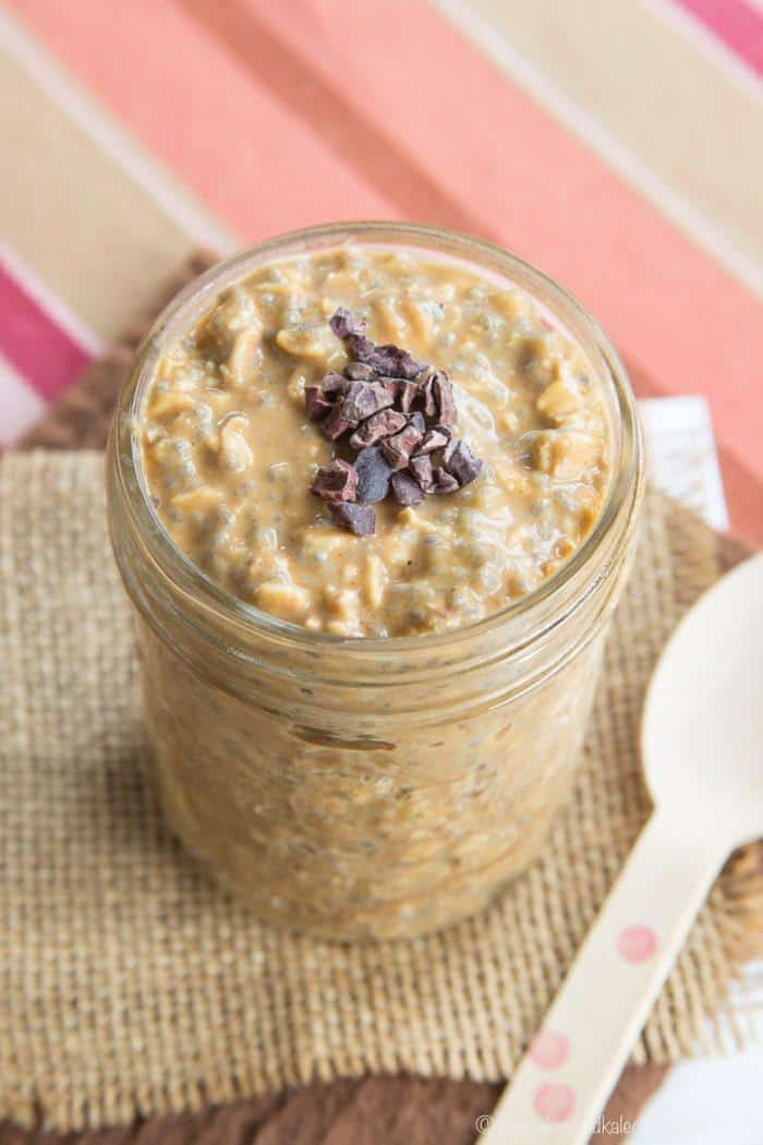 Pumpkin Spice Latte Overnight Oats topped with cacao nibs