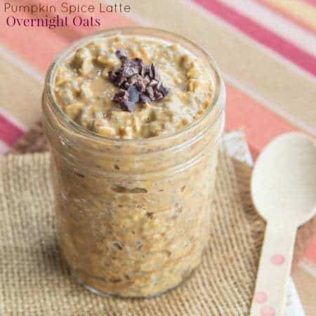 Pumpkin spice latte overnight oats will make you forget Starbucks. Get your PSL fix in a satisfying and healthy breakfast instead!