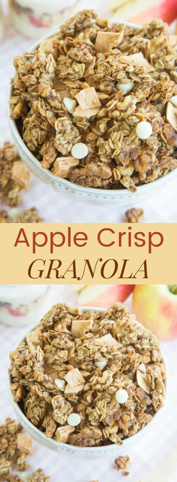 Apple Crisp Granola - an easy granola recipe to top your Greek yogurt for breakfast or snack with apple cinnamon flavor and crunchy nuts! It's also gluten free!