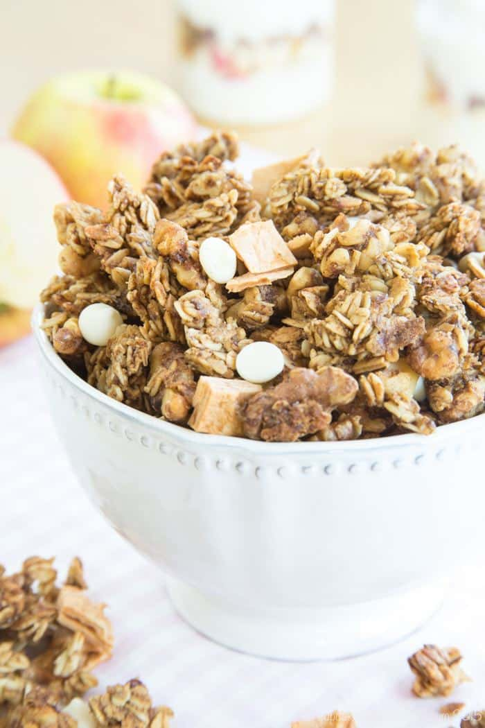 Easy Cinnamon Apple Granola in a white decorative bowl