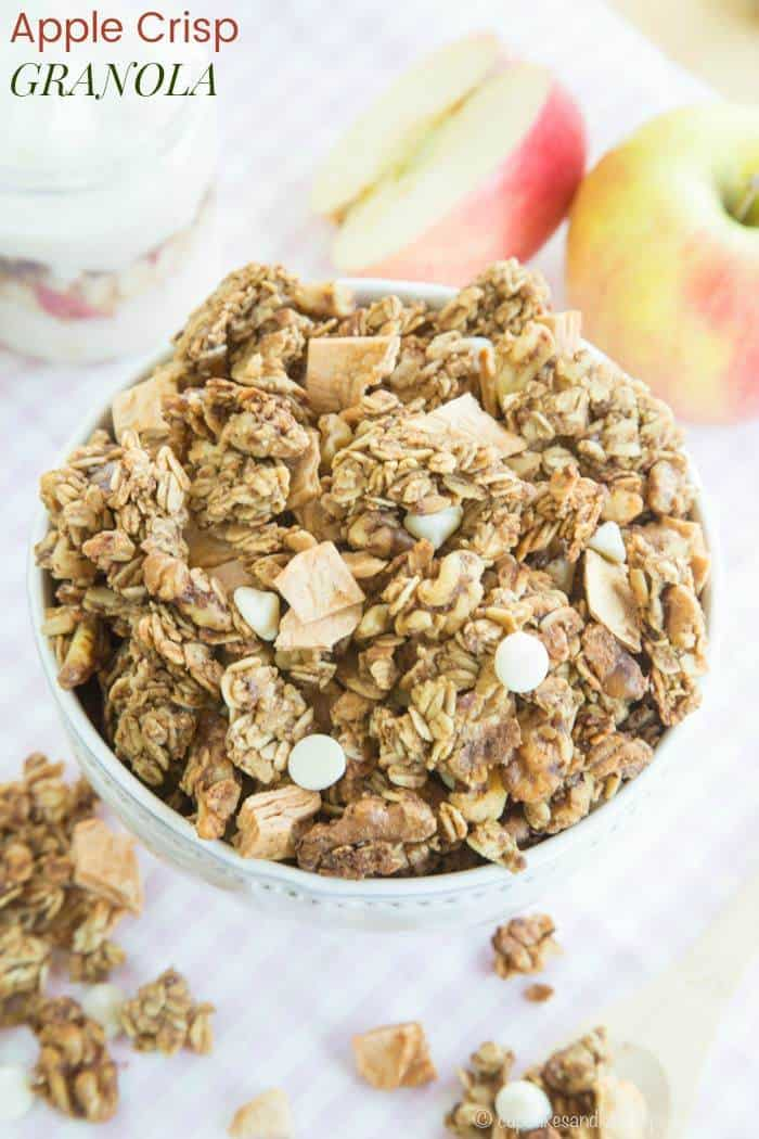 Apple Crisp Granola - scoop this granola on top of yogurt for a healthy breakfast or snack. Apple cinnamon and crunchy nuts make it taste like a favorite fall dessert. Gluten free recipe too.