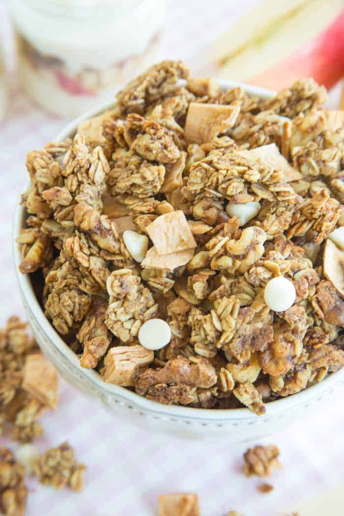 Apple Granola Clusters taste like a favorite fall dessert. With apples, cinnamon, and nuts, this healthy breakfast or snack reminds you of an apple crisp.