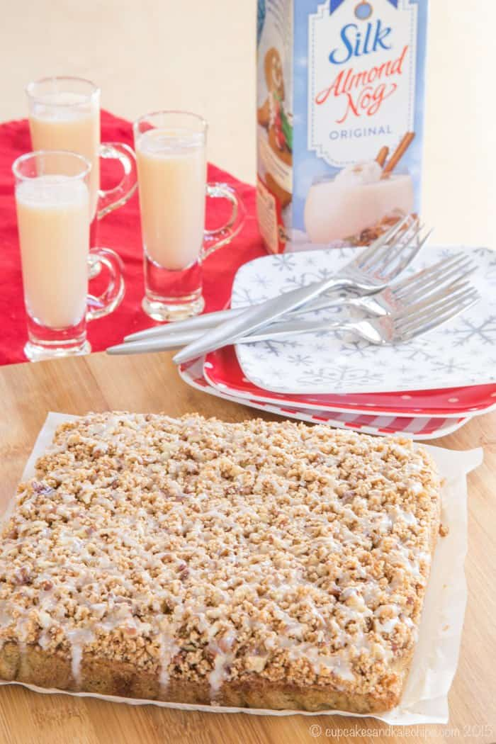 Gluten Free Eggnog Coffee Cake can be made dairy free with Silk Almond Nog