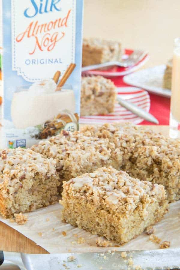 Gluten Free Eggnog Crumb Cake - the aroma of cinnamon and nutmeg will have the family running out of bed for Christmas morning breakfast. Make it dairy free with @LoveMySilk #SilkHolidays #ad   cupcakesandkalechips.com