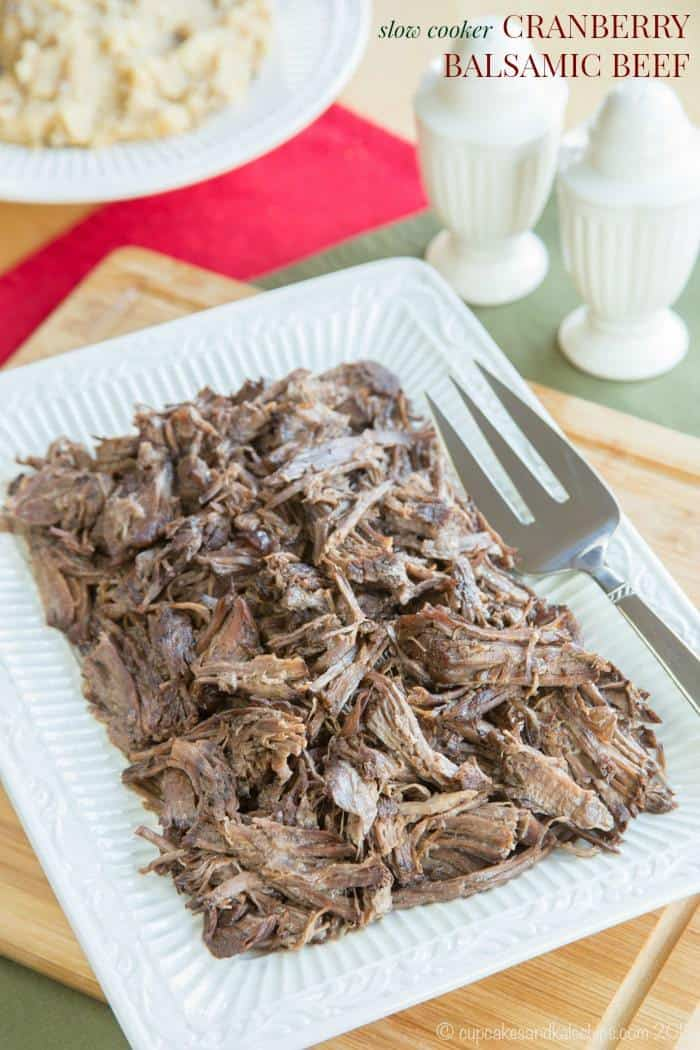 Slow Cooker Cranberry Balsamic Beef - just four ingredients in this ...