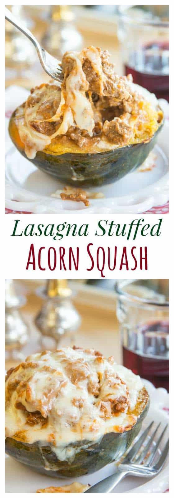 Lasagna Stuffed Acorn Squash - all the cheesy, saucy, meaty goodness of your favorite Italian comfort food recipe in an edible bowl! | cupcakesandkalechips.com | gluten free