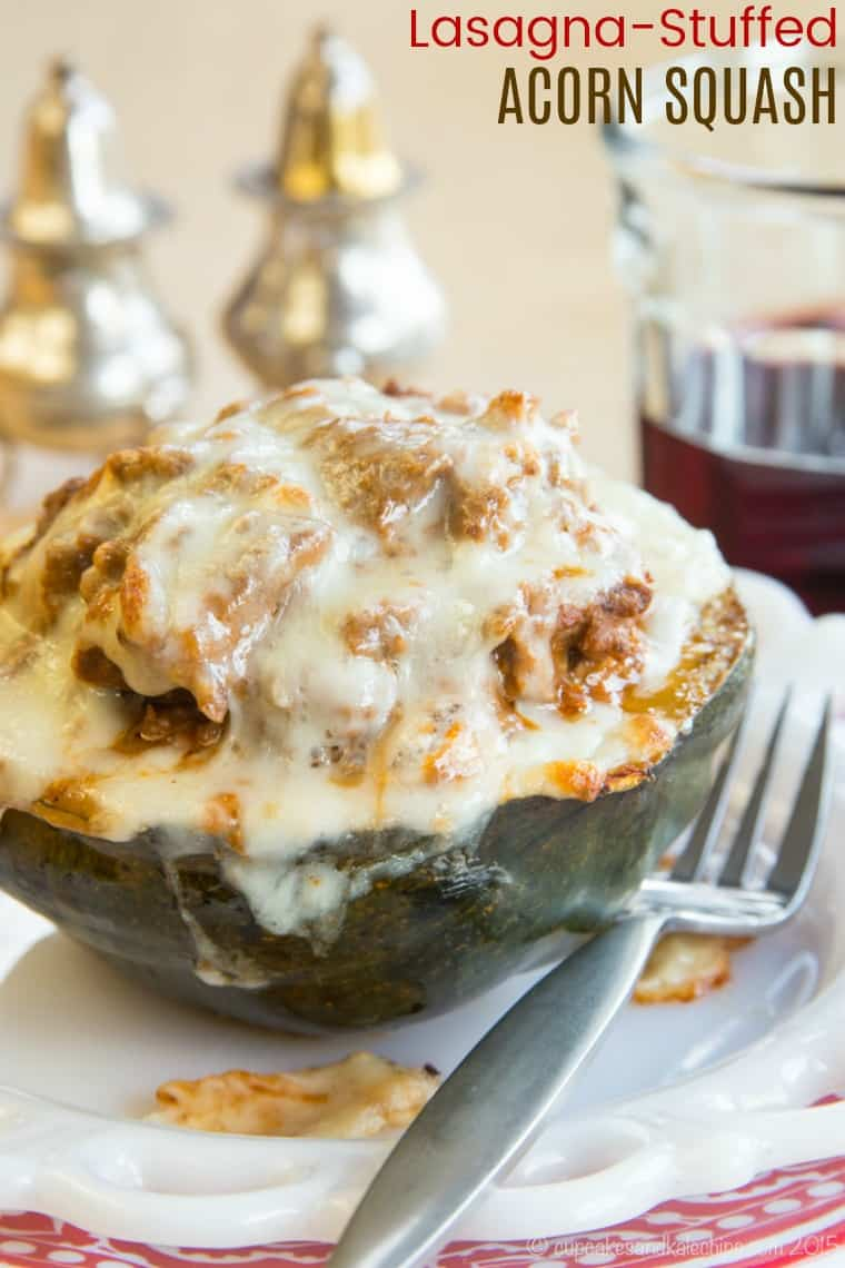 Lasagna Stuffed Acorn Squash Recipe with ground beef, tomato sauce, ricotta, and mozzarella cheese