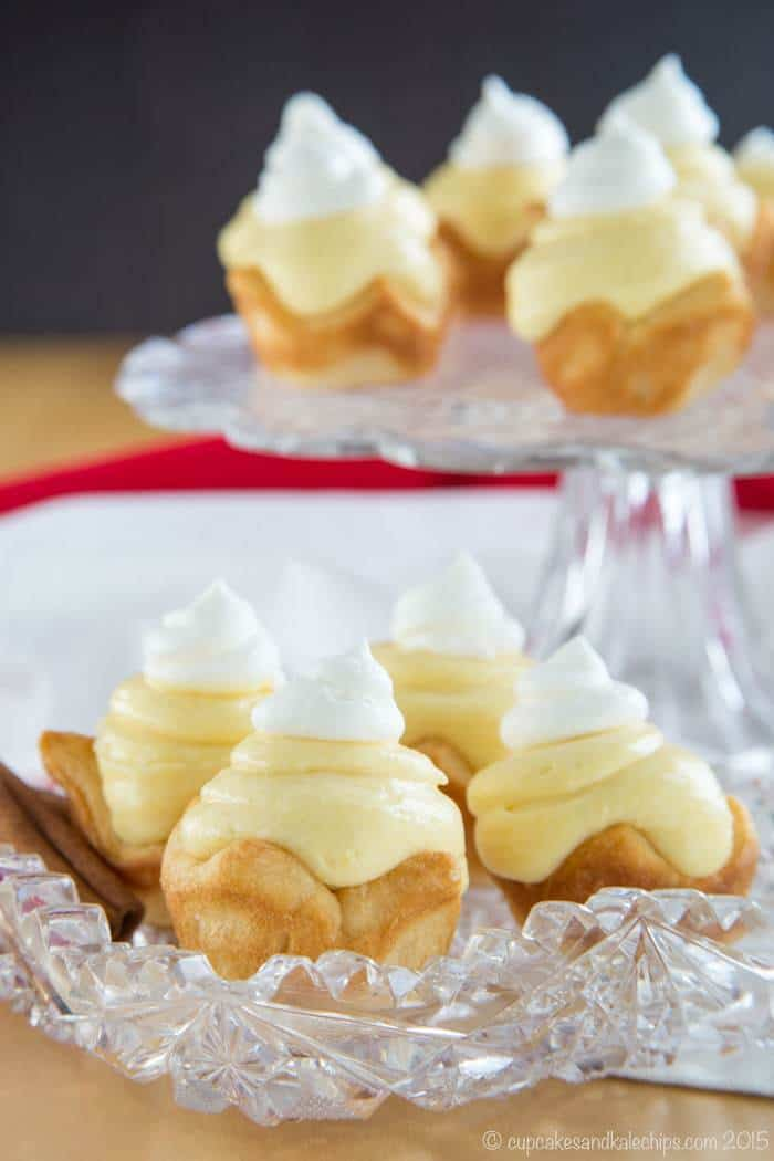 Mini Eggnog Cream Pies served on a crystal serving dish
