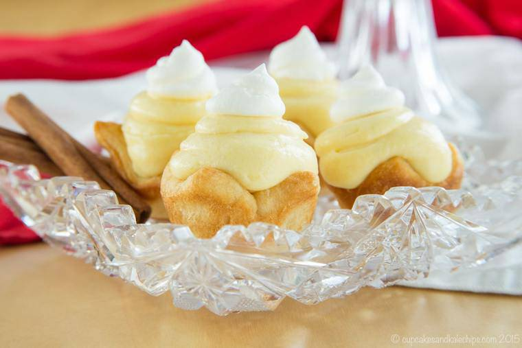 Four Ingredient Mini Cream Pies with eggnog on a crustal plate