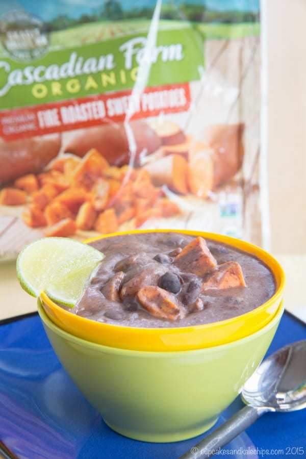 Sriracha Coconut Black Bean Soup with Sweet Potatoes is a creamy East meets West version of this spicy comfort food. Add it to your Meatless Monday menu all fall and winter long. #ad | cupcakesandkalechips.com | gluten free, vegetarian, vegan recipe