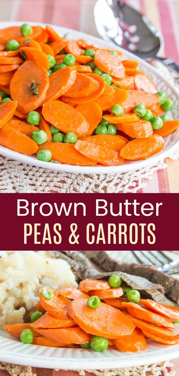 Brown Butter Peas and Carrots collage of two images