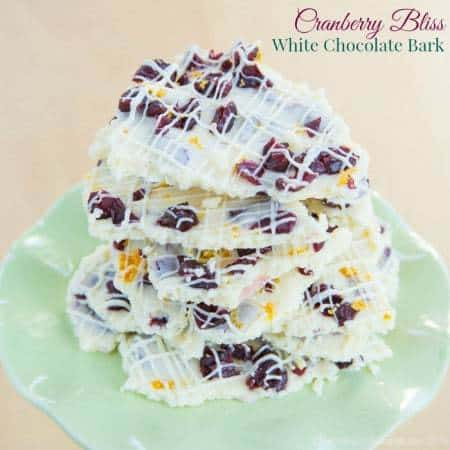 Cranberry Bliss White Chocolate Bark - inspired by Starbucks Cranberry Bliss Bars, this gluten-free chocolate candy recipe is so easy and perfect for Christmas gifts! | cupcakesandkalechips.com