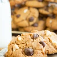 Flourless Triple Chocolate Chip Peanut Butter Cookies