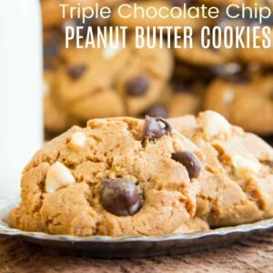 Triple Chocolate Chip Peanut Butter Cookie Recipe featured image