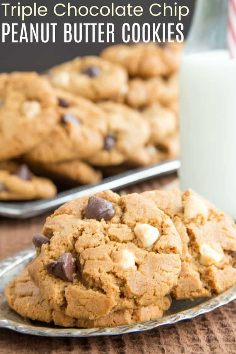 Flourless Triple Chocolate Chip Peanut Butter Cookies Recipe image with title