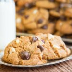 No Flour Peanut Butter Cookies with white, dark, and semi sweet chocolate chips