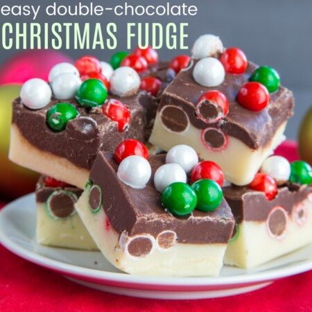 Four-Ingredient Double Chocolate Christmas Fudge - a quick and easy, gluten-free no-bake edible gift or sweet dessert bite for the holidays. | cupcakesandkalechips.com