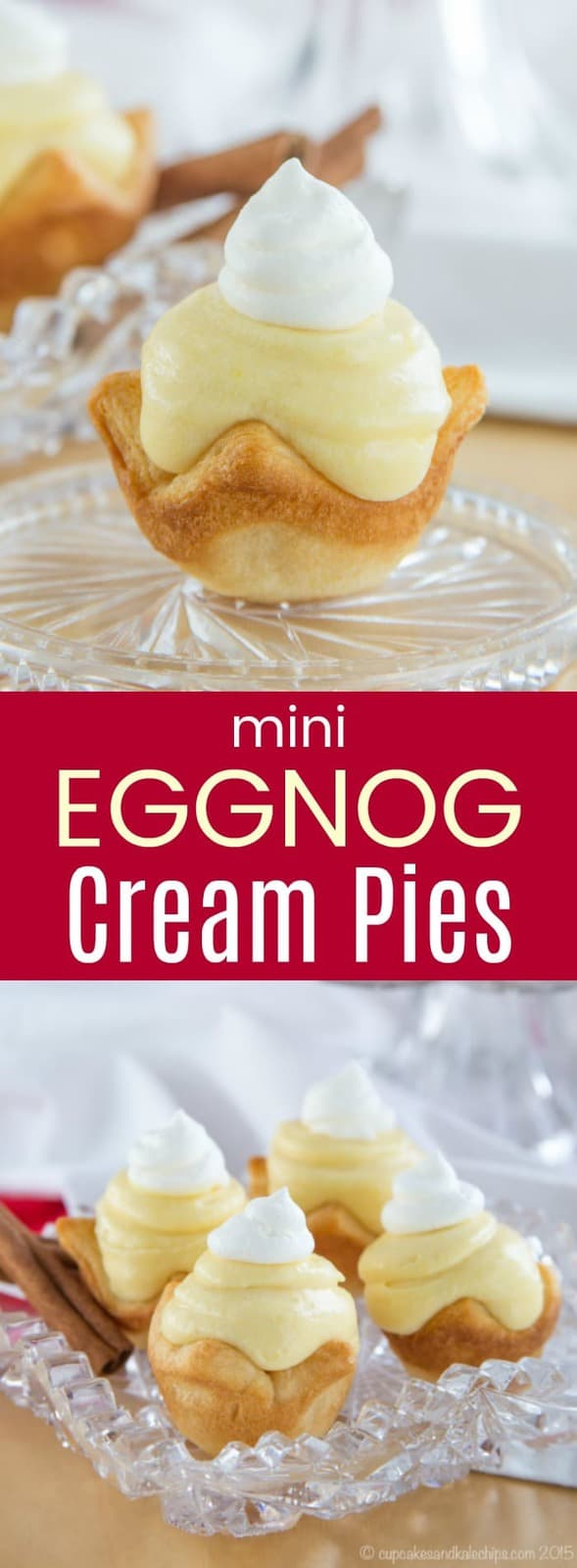 Mini Eggnog Cream Pies - an easy dessert for Christmas with only four ingredients! #eggnog #crescentrolls #christmas #minidesserts
